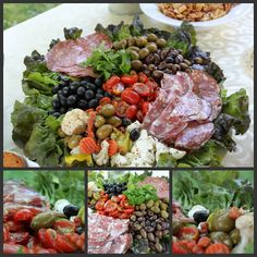 Delicious and Pretty Anti-Pasta Platter for Parties (marinated mozzarella, roasted tomatoes, assorted olives and cold cuts served atop a bed of red leaf lettuce.