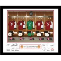 Man Utd Goalkeepers Dressing Room Your selected surname will be merged onto the Goal Keeper shirt to exactly match your team mates. Underneath the photograph the recipient's forename and surname are printed alongside the player's signatures leaving a space for the recipient to add their own signature upon receipt. Easy to follow instructions are included. Printed and Framed in a Black Contemporary Frame.    You can even select which number you want printed on the shirt making it a perfect… Manchester United Gifts, Manchester United Legends, Manchester United Football, Contemporary Frames, Man United, Goalkeeper, Gifts For Boys, Dressing Room, Photograph