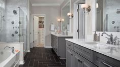 Master Bathroom with Undermount sink, Flat panel cabinets, Crown molding, Wall sconce, Limestone, High ceiling, Raised panel