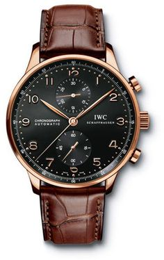 IWC Portuguese Chrono-Automatic 18kt Rose Gold Brown Mens Watch 3714-15