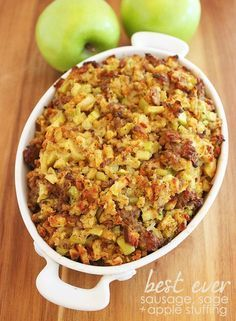 Best Ever Sausage, Sage and Apple Stuffing http://www.thecomfortofcooking.com/2014/11/best-ever-sausage-sage-apple-stuffing.html
