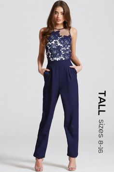 cc3c6057e256 Tall Navy Crochet and Sheer Jumpsuit