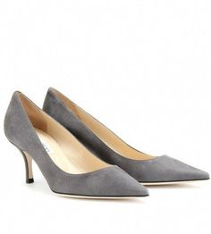 aa0ea97092 Jimmy Choo Gray Lizzy Suede Kitten Heel Pumps #JimmyChoo Beige Shoes, Grey  Pumps,
