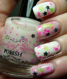 Darling Diva Polish Lucky Star over Zoya GeiGei and white