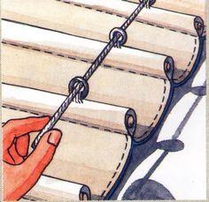Cómo confeccionar un estor de persiana - Outdoor Pergola, Backyard Patio, Pergola Kits, Gazebo, Curtains With Blinds, Drapes Curtains, Valances, Cortina Roller, Store Velux