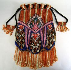 Art Deco Beaded Purse c.1925 Vintage Graphic Great Color..http://www.rubylane.com