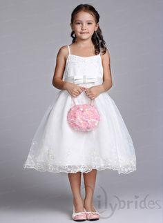 Princess Spaghetti Satin Lace Tea Length Flower Girl Dress
