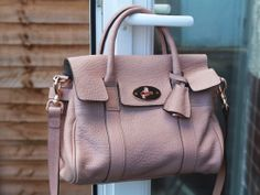 "Authentic MULBERRY Small Bayswater ""Powder Beige"" Maxi Grain Leather Bag  067ea8497b474"