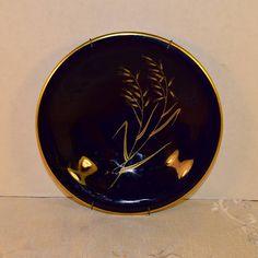 Bavaria Echt Cobalt Blue Plate Vintage Goldhafer Pattern with