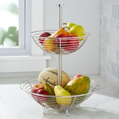 Carter Stainless Fruit Basket at Crate and Barrel Canada. Discover unique furniture and decor from across the globe to create a look you love. Wire Fruit Basket, Fruits Basket, Wire Baskets, Crate And Barrel, Fruit Holder, Fruit Packaging, Fruit Shop, New Fruit, Hallway Decorating