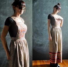 Vintage 1970s Batik Pinafore Apron Maxi Dress
