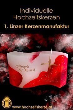 Ich fertige einzigartige Hochzeitskerzen nach individuellen Wünschen an. Ein Unikat für jedes Brautpaar. 100%ige Handarbeit aus Oberösterreich. Sie können nicht nur die Verzierung, sondern auch die Form der Kerze selbst bestimmen, da wir auch die Rohlinge nach Kundenwunsch selbst herstellen. Kerze mit Holz, Mantelkerze, Kerze mit Mineralien, Achat, Meteorit, Hochzeit selbstgemacht Standesamt Kirche Hochzeitsbrauch Geschenk Dekoration Kerze deko Trauung Trauspruch Kerzenshop Candels, Diy Candles, Form, Movie Posters, Dekoration, Candle Decorations, Newlyweds, Waves, Film Poster
