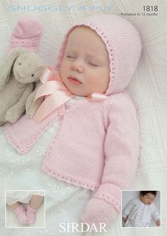 Cardigan, Hat, Mittens and Socks in Sirdar Snuggly 4 Ply - Discover more Patterns by Sirdar at LoveKnitting. The world& largest range of knitting supplies - we stock patterns, yarn, needles and books from all of your favourite brands. Crochet Baby Mittens, Crochet Baby Blanket Beginner, Crochet Baby Booties, Sirdar Knitting Patterns, Baby Cardigan Knitting Pattern, Knit Cardigan, Baby Girl Sweaters, Vogue Knitting, Knitting Wool