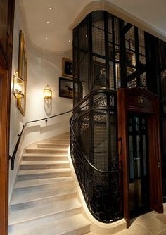 Elevator found in the Ralph Lauren flagship store in St. Germain, Paris. Would be wonderful as a home elevator system.