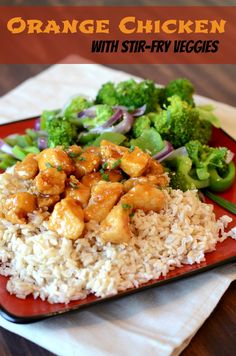 Orange Chicken with Stir-Fry Veggies - SO good! And it just happens to be gluten free...