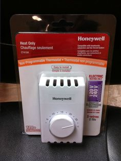 Honeywell CT410A MANUAL THERMOSTAT single pole 2 wires electric heating white