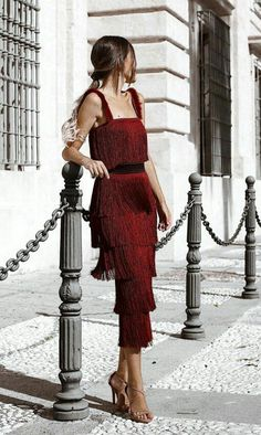 New Party Dress Red Glamour Ideas Pretty Dresses, Beautiful Dresses, Mode Ootd, Fringe Dress, Mode Outfits, Mode Inspiration, Dress To Impress, High Fashion, Red Fashion