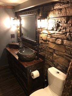 Ledgestone Urestone faux stone panels offer a large variety of color and texture choices with an incredibly realistic. Rustic Bathroom Designs, Rustic Bathrooms, Earthy Bathroom, House Paint Interior, Interior Design, Knotty Pine Doors, House Painting Cost, Faux Stone Panels, Stone Accent Walls