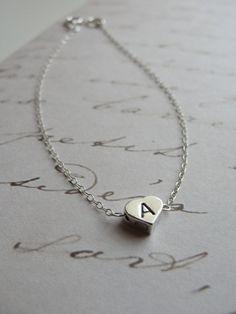 Tiny Silver Initial Heart Charm Bracelet by Olive Yew. #initialbracelet #valentinegiftidea
