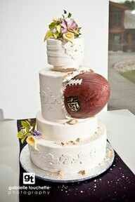 Nothing says a football wedding like a football wedged on the side of the cake. I want his to be my wedding cake! Rugby Wedding, Football Wedding, Sports Wedding, Football Grooms Cake, Basketball Wedding, Cupcakes, Cupcake Cakes, Shoe Cakes, Beautiful Cakes