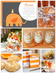 Orange Creamsicle Baby Shower Inspiration Board By Tiny Talk Shower Party, Baby Shower Parties, Baby Shower Themes, Shower Ideas, Grey Baby Shower, Unique Baby Shower, Orange Party, Shower Bebe, Shower Inspiration