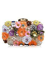 Milisente Women Evening Bag Flower Beaded Handbag Bridal Clutch Purse