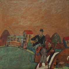 Antonio Seguí – Trolley, 1980; Oil on paper laid on canvas, 47x47 in
