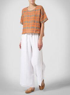 Orange Green Linen Half Sleeve Top