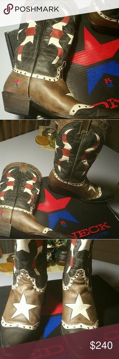 Patriotic Red Neck Riviera Boots 9 Festival Ready! Distressed patriotic boots worn around house x1 size 9. Very cool! Snip toe, true to size. Just thought I would wear them more than I did. Someone needs to, these are really sweet!. Clearwater aged leather. Shaft 12inch , heel 1.5inch  Just put some water repellent on them while doing all my boots, ready to go! :)  *not old gringo. These are redneck rivieras! Sold out this style that I have seen. They say gray on box, but they look brownish…