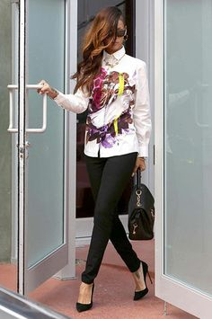 A 'Street Style' award has to be handed to pop-princess Rihanna. She looked amazing exiting Chris Browns' house in a Christopher Kane Resort 2013 'punk-luxe' floral shirt, combined with slim-line leather pants and a covetable Dolce & Gabbana tote.