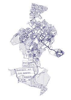 Traverse me:: A map of The University of Warwick campus made with a GPS device to invite the viewer to see a different landscape to that which surrounds them. It questions the possibilities of where they are and inspires a personal reading of their movements and explorations of the campus.