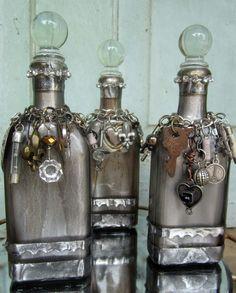 me ~ Decorative Bottles : Altered Decorated Shabby Bottle Antique Glass Romantic Altered Bottles, Vintage Bottles, Liquor Bottles, Bottles And Jars, Glass Bottles, Perfume Bottles, Bottle Lamps, Antique Bottles, Vintage Wine