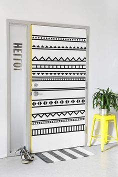 Wow, now this is the definition of drab to fab! The yellow on the side really makes the door pop. Not to mention, how the design turns a door from dull to fun. This is a cool way to express yourself at work or your bedroom. Click here to view the full tutorial