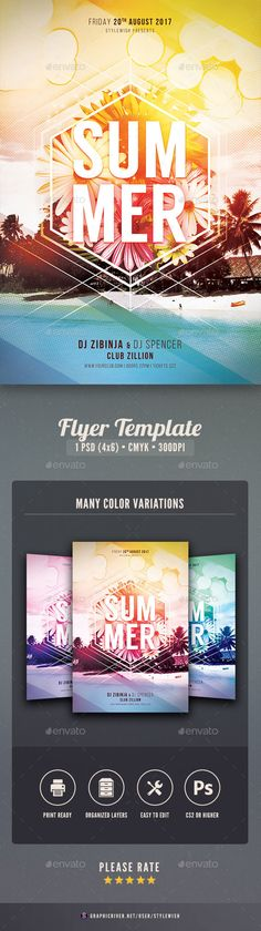 Cocktail Summer Party Flyer Template PSD Awesome Summer Party - summer flyer template