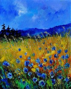 """cornflowers 45"" - Original Fine Art for Sale - © Pol Ledent"