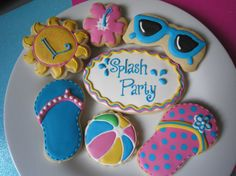Beach / Pool Party Cookies  Custom Gourmet Sugar by PartyCreative