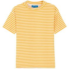 Womens Short-Sleeved Tops M.i.h Jeans Retro Yellow Striped Cotton... (160 AUD) ❤ liked on Polyvore featuring tops, t-shirts, short sleeve tee, short sleeve tops, high neck top, cotton t shirt and stripe tee