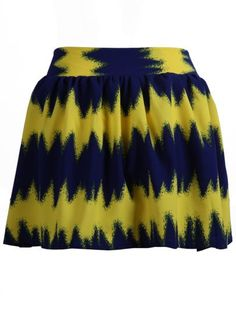 Yellow Navy Elastic Waist Zigzag Skirt #SheInside