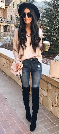 what to wear with a hat : bag + nude sweater + rips + over the knee boots