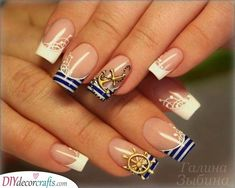 Summer Nail Designs to Have: Nautical Nails - lilostyle Nautical Nail Designs, Nautical Nails, Sea Nails, Navy Nails, Acrylic Nail Designs, Acrylic Nails, Military Nails, Navy Military, Sailor Nails
