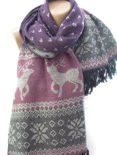 Nordic blanket scarf shawl deer burgundy grey huivi poro