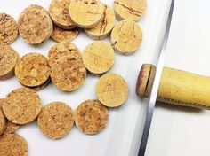 Using wine corks for crafts??? Soak corks in hot water for 10 minutes before cutting them for crafts–they won't crumble. THE ORIGINAL PICTURE and LINK FOR THIS INFO got deleted for copyright....so I found a nice site with info about corks and some cork crafts that lets you pin their pictures ... c