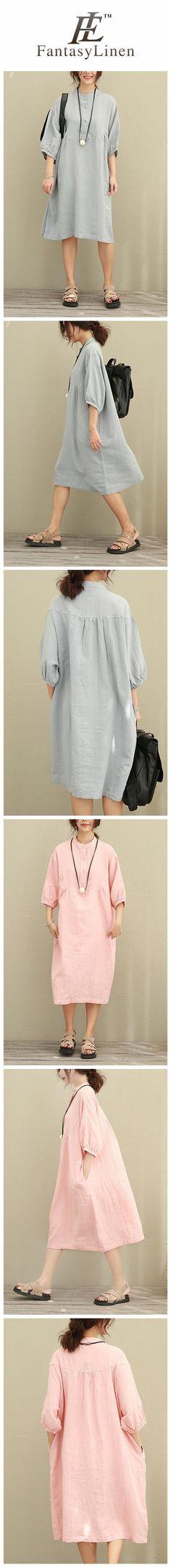 Big Size Puff Sleeve Loose Cotton Linen Shirt Dress Women Clothes