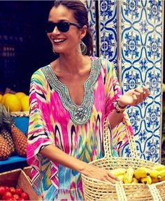 Printed Missoni embellished kaftan...April in Amsterdam loves it!