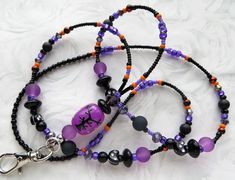 Necklace Clasp Fall Lanyard BOO- Beaded Lanyard ID Badge Holder- Halloween Theme Teacher Lanyard- Lampwork Beads Holiday Lanyard