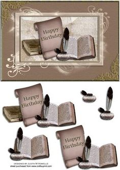 Old Books Birthday Card on Craftsuprint designed by Judith Mary Howells - Old books, parchment, quill and ink on a flourish decorated background with brass corners and frames. - Now available for download!