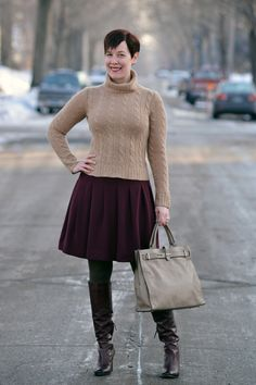 love this oatmeal/camel sweater with the deep berry skirt!  from already pretty.