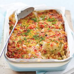 Easy Pea And Potato Frittata Recipe Breakfast and Brunch with oil, new potatoes, peas, spring onions, tomatoes, cheese, large eggs, evaporated milk, salt, pepper