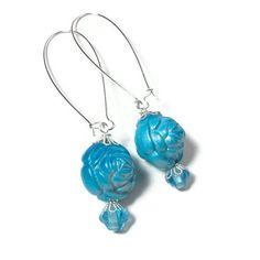 Blue Rose Earrings Turquoise Earrings by BluKatDesign on Etsy
