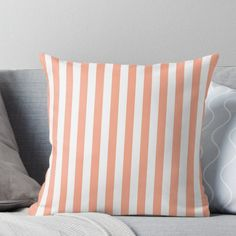 Super soft and durable spun polyester Throw pillow with double-sided print. Cover and filled options. Large Peach and White Vertical Cabana Tent Stripes Pink And White Stripes, Wide Stripes, Vertical Stripes, White White, White Throw Pillows, Bed Pillows, Powder Pink, Designer Throw Pillows